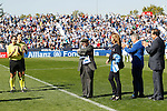 CD Leganes tribute to his oldest supporter, Salustiano Toribio, 102 years old, during La Liga match. October 15,2016. (ALTERPHOTOS/Acero)