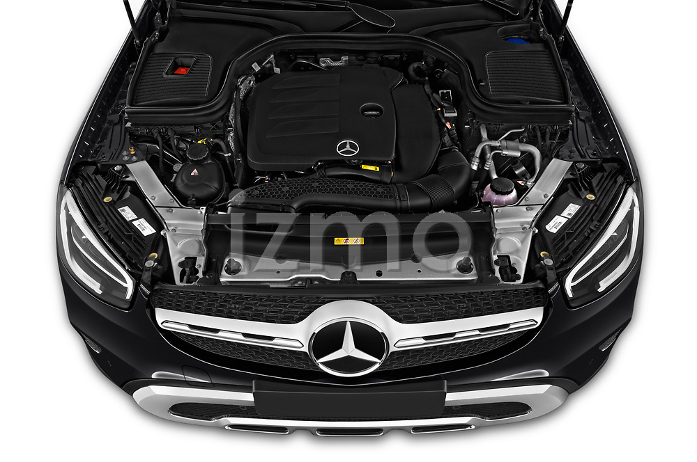 Car Stock 2020 Mercedes Benz GLC-Coupe - 5 Door SUV Engine  high angle detail view