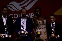 BOGOTÁ - COLOMBIA, 11-12-2018: Robert Farah y Juan Sebastián Cabal (Izq.) Atius de Plata, Caterine Ibargüen (Cent.) Altius de Oro y Josimar Calvo (Der.) Altius de Bronce en atleta del año, durante ceremonia de premiación del Deportista Altius del Año 2018, por el Comité Olímpico Colombiano (COC), en ceremonia realizada en el Hotel Grand Hyatt en la ciudad de Bogotá. / Robert Farah and Juan Sebastián Cabal (L) Silver Atius, Caterine Ibargüen (C) Gold Altius and Josimar Calvo (R) Bronce Altius in athlete of the year, during the award ceremony of the Athlete Altius of the Year 2018, by the Colombian Olympic Committee (COC), in a ceremony held at the Grand Hyatt Hotel in the city of Bogota.Photo: VizzorImage / Luis Ramírez / Cont.