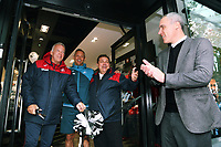 (L-R) Alan Curtis, Lee Trundle, Kevin Johns and Chris Pearlman during the cutting of the ribbon at the Swansea City FC shop opening in Union Street, Swansea, Wales, UK. Saturday 07 October 2017