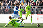 FK Trakai v St Johnstone…06.07.17… Europa League 1st Qualifying Round 2nd Leg, Vilnius, Lithuania.<br />Murray Davidson is brought down by Arunas Klimavicius<br />Picture by Graeme Hart.<br />Copyright Perthshire Picture Agency<br />Tel: 01738 623350  Mobile: 07990 594431