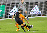 CARSON, CA - OCTOBER 28: Diego Rossi #9 of LAFC crosses a ball in the box during a game between Houston Dynamo and Los Angeles FC at Banc of California Stadium on October 28, 2020 in Carson, California.