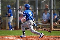 Indiana State Sycamores Seth Gergely (15) bats during the teams opening game of the season against the Pitt Panthers on February 19, 2021 at North Charlotte Regional Park in Port Charlotte, Florida.  (Mike Janes/Four Seam Images)