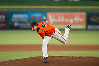 AZL Giants starting pitcher Seth Corry (63) follows through on his delivery against the AZL Rangers on August 22 at Scottsdale Stadium in Scottsdale, Arizona. AZL Rangers defeated the AZL Giants 7-5. (Zachary Lucy/Four Seam Images via AP Images)