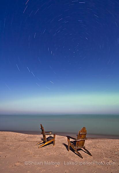 Northern lights, star trails over Lake Superior, Upper Michigan aurora borealis northern lights in the upper peninsula of michigan