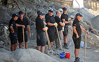 Pictured: The forensics team before they sift through soil at the farmhouse, where Ben Needham disappeared from in Kos, Greece. Friday 07 October 2016<br />