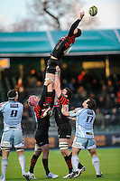 20130127 Copyright onEdition 2013©.Free for editorial use image, please credit: onEdition..Tom Jubb of Saracens is lifted in the lineout by Nick Fenton-Wells (left) and Eoin Sheriff of Saracens during the LV= Cup match between Saracens and Cardiff Blues at Allianz Park on Sunday 27th January 2013 (Photo by Rob Munro)..For press contacts contact: Sam Feasey at brandRapport on M: +44 (0)7717 757114 E: SFeasey@brand-rapport.com..If you require a higher resolution image or you have any other onEdition photographic enquiries, please contact onEdition on 0845 900 2 900 or email info@onEdition.com.This image is copyright onEdition 2013©..This image has been supplied by onEdition and must be credited onEdition. The author is asserting his full Moral rights in relation to the publication of this image. Rights for onward transmission of any image or file is not granted or implied. Changing or deleting Copyright information is illegal as specified in the Copyright, Design and Patents Act 1988. If you are in any way unsure of your right to publish this image please contact onEdition on 0845 900 2 900 or email info@onEdition.com