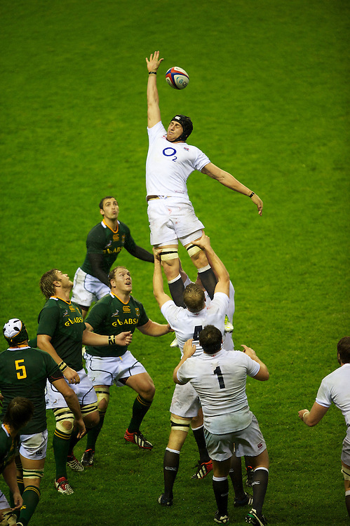 Tom Wood of England mis-judges the lineout ball during the QBE Autumn International match between England and South Africa at Twickenham on Saturday 24 November 2012 (Photo by Rob Munro)