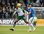 St Johnstone v Celtic…07.10.18…   McDiarmid Park    SPFL<br />Olivier Ntcham gets to the ball ahead of Danny Swanson<br />Picture by Graeme Hart. <br />Copyright Perthshire Picture Agency<br />Tel: 01738 623350  Mobile: 07990 594431
