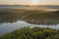 aerial sunrise at Laurel Lake, Lee, Berkshire hills, MA