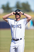 Peoria Javelinas hitting coach Doug Banks (8), of the San Diego Padres organization, during an Arizona Fall League game against the Scottsdale Scorpions at Peoria Sports Complex on October 18, 2018 in Peoria, Arizona. Scottsdale defeated Peoria 8-0. (Zachary Lucy/Four Seam Images)