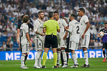 Real Madrid's players have words with referee Santiago Jaime Latre during La Liga match. September 01, 2018. (ALTERPHOTOS/A. Perez Meca)