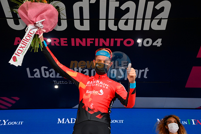 Damiano Caruso (ITA) Bahrain Victorious wins Stage 20 of the 2021 Giro d'Italia, running 164km from Verbania to Valle Spluga-Alpe Motta, Italy. 29th May 2021.  <br /> Picture: LaPresse/Gian Mattia D'Alberto | Cyclefile<br /> <br /> All photos usage must carry mandatory copyright credit (© Cyclefile | LaPresse/Gian Mattia D'Alberto)