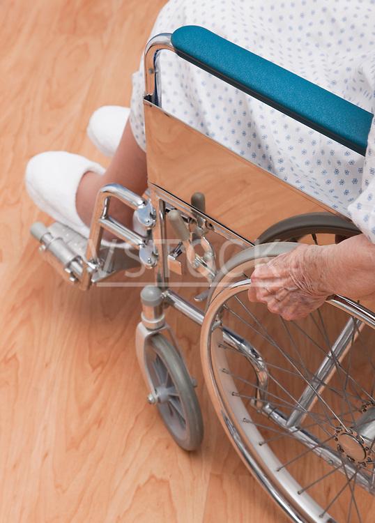 USA, Illinois, Metamora, Low section of senior woman in wheelchair