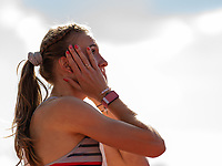 4th July 2021; Stockholm Olympic Stadium, Stockholm, Sweden; Diamond League Grand Prix Athletics, Bauhaus Gala; Femke Bol in shock after Personal Best in the 400m hurdles final