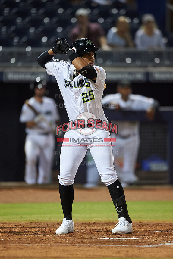 Peoria Javelinas Julio Rodriguez (25), of the Seattle Mariners organization, at bat during an Arizona Fall League game against the Surprise Saguaros on September 22, 2019 at Peoria Sports Complex in Peoria, Arizona. Surprise defeated Peoria 2-1. (Zachary Lucy/Four Seam Images)