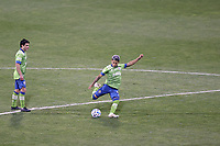 COLUMBUS, OH - DECEMBER 12: Raul Ruidiaz #9 of the Seattle Sounders FC attempts a shot from midfield at the start of the second half during a game between Seattle Sounders FC and Columbus Crew at MAPFRE Stadium on December 12, 2020 in Columbus, Ohio.