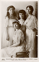 MARIE TATIANA ANASTASIA & OLGA  Daughters of Nicolas II and Alexandra of Russia / Photograph by Boissonnas & Eggler on a Beagles postcard /