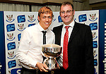 St Johnstone FC Players Awards Night...01.05.11  Lovatt Hotel Perth..Murray Davidson being presented with the SJFC Business Club Player of the Year Award by Greg Davidson SJFC Chairman..Picture by Graeme Hart..Copyright Perthshire Picture Agency.Tel: 01738 623350  Mobile: 07990 594431