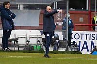 20th February 2021; Dens Park, Dundee, Scotland; Scottish Championship Football, Dundee FC versus Queen of the South; Queen of the South manager Alan Johnston