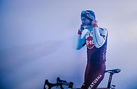 Marco Mathis (DEU/Katusha-Alpecin) getting ready for the pre-race team presentation<br /> <br /> Omloop Het Nieuwsblad 2018<br /> Gent › Meerbeke: 196km (BELGIUM)