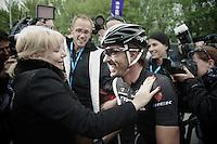 race winner Fabian Cancellara (CHE/TrekFactoryRacing) finds his wife immediately after the finish line<br /> <br /> Ronde van Vlaanderen 2014