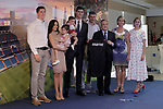 Real Madrid's new player Thibaut Courtois with the President Florentino Perez and his family during his official presentation. August 9, 2018. (ALTERPHOTOS/Acero)