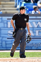 Home plate umpire Drew Freed during a game between the Myrtle Beach Pelicans and Wilmington Blue Rocks  on April 27, 2014 at Frawley Stadium in Wilmington, Delaware.  Myrtle Beach defeated Wilmington 5-2.  (Mike Janes/Four Seam Images)