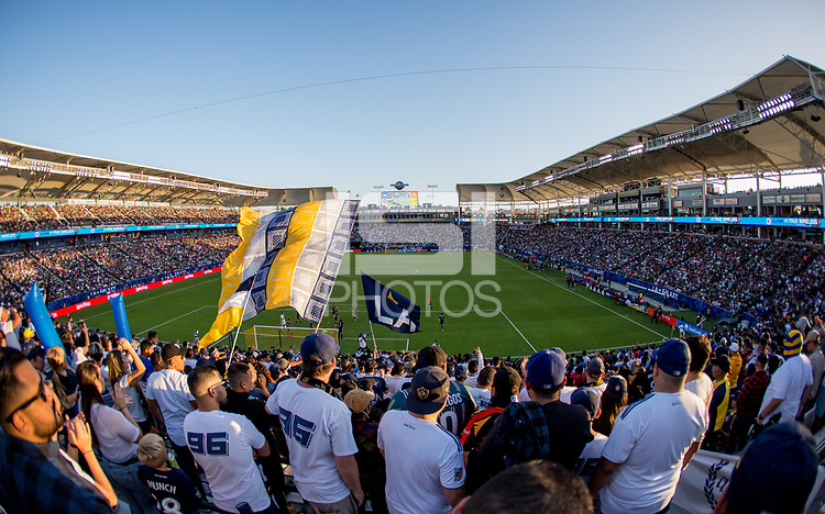 CARSON, CA - SEPTEMBER 29: LA Galaxy fans during a game between Vancouver Whitecaps and Los Angeles Galaxy at Dignity Health Sports Park on September 29, 2019 in Carson, California.