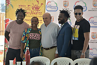 CALI - COLOMBIA. 12-08-2019: Maurice Armitage, Alcalde de Cali, Begner Vasquez y William Angulo de Herencia de Timbiquí,  durante la presentación del XXIII Festival de Música del Pacífico Petronio Alvarez 2019 que es el festival cultural afro más importante de Latinoamérica y se lleva acabo entre el 14 y el 19 de agosto de 2019 en la ciudad de Cali. / Maurice Armitage, Cali Major, during the launch of XXII Pacific Music Festival Petronio Alvarez 2019 that is the most important afro descendant cultural festival of Latin America and takes place between August 14 and 19, 2019, in Cali city. Photo: VizzorImage/ Gabriel Aponte / Staff