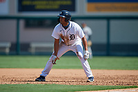 Detroit Tigers Riley Greene (13) leads off during a Florida Instructional League intrasquad game on October 17, 2020 at Joker Marchant Stadium in Lakeland, Florida.  (Mike Janes/Four Seam Images)