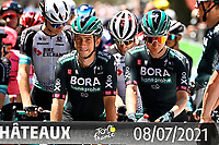 8th July 2021; Nimes, France; riders of Team BORA - HANSGROHE during stage 12 of the 108th edition of the 2021 Tour de France cycling race, a stage of 159,4 kms between Saint-Paul-Trois-Chateaux and Nimes.