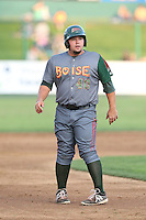 Danny Canela #40 of the Boise Hawks runs the bases during a game against the Everett AquaSox at Everett Memorial Stadium on July 22, 2014 in Everett, Washington. Everett defeated Boise, 6-0. (Larry Goren/Four Seam Images)