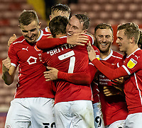 21st November 2020, Oakwell Stadium, Barnsley, Yorkshire, England; English Football League Championship Football, Barnsley FC versus Nottingham Forest; Cauley Woodrow of Barnsley celebrates with team mates after making it 2-0 in minute 88
