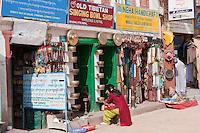Bodhnath, Nepal.  Handicraft and Souvenir Shops Surround the Buddhist Stupa.