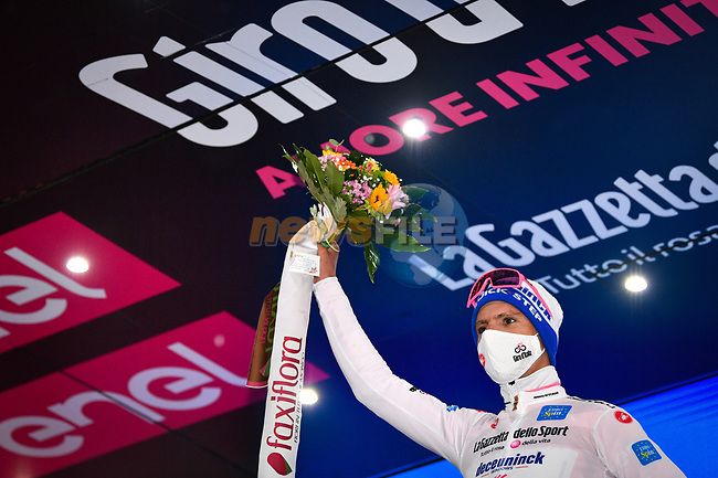 Race leader Joao Almeida (POR) Deceuninck-Quick Step also retains the young riders Maglia Bianca at the end of Stage 5 of the 103rd edition of the Giro d'Italia 2020 running 225km from Mileto to Camigliatello Silano, Sicily, Italy. 7th October 2020.  <br /> Picture: LaPresse/Massimo Paolone | Cyclefile<br /> <br /> All photos usage must carry mandatory copyright credit (© Cyclefile | LaPresse/Massimo Paolone)