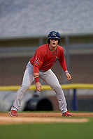 Lowell Spinners Nick Decker (21) leads off first base during a NY-Penn League Semifinal Playoff game against the Batavia Muckdogs on September 4, 2019 at Dwyer Stadium in Batavia, New York.  Batavia defeated Lowell 4-1.  (Mike Janes/Four Seam Images)