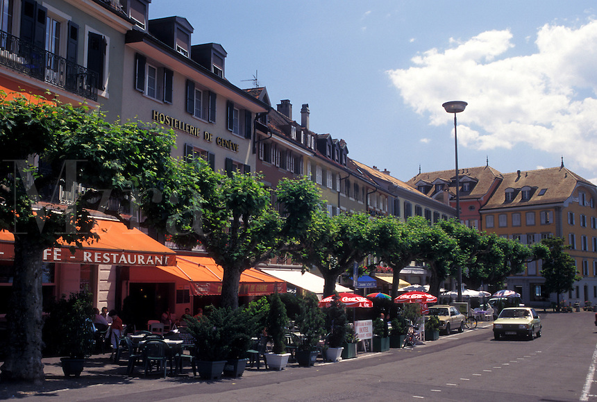 café, Vevey, Switzerland, Vaud, Cafés along the street in downtown Vevey in the Canton of Vaud.