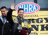 Feb. 12, 2012; Pomona, CA, USA; NHRA 2011 top fuel dragster champion Del Worsham receives his championship ring and jacket during the Winternationals at Auto Club Raceway at Pomona. Mandatory Credit: Mark J. Rebilas-