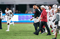 LOS ANGELES, CA - SEPTEMBER 11: David Shaw, Pete Alamar during a game between University of Southern California and Stanford Football at Los Angeles Memorial Coliseum on September 11, 2021 in Los Angeles, California.
