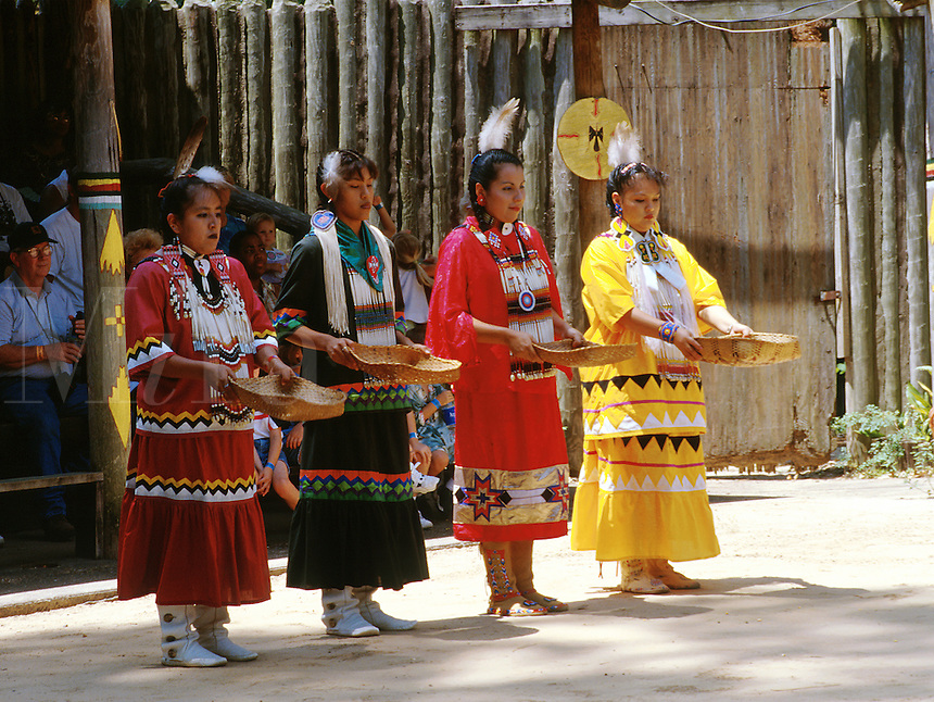 Tribal dance performance. Women perform basket dance. Corn harvest. American Indian. Native tribe. Livingston Texas, Alabama-Coushatta Indian Reservation.