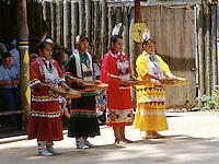Tribal dance performance. Women perform basket dance. Corn harvest. American Indian. Native tribe. Livingston Texas, Alabama-Coushatta Indian Reservation.