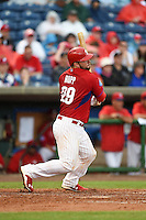 Philadelphia Phillies catcher Cameron Rupp (29) during a Spring Training game against the New York Yankees on March 27, 2015 at Bright House Field in Clearwater, Florida.  New York defeated Philadelphia 10-0.  (Mike Janes/Four Seam Images)