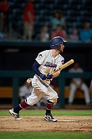 Jacksonville Jumbo Shrimp Brian Miller (5) hits a single during a Southern League game against the Mobile BayBears on May 28, 2019 at Baseball Grounds of Jacksonville in Jacksonville, Florida.  Mobile defeated Jacksonville 2-1.  (Mike Janes/Four Seam Images)