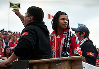 22 May 2010: Due to a career ending condition Toronto FC defender Zachary Herold #5 was forced to retire from the MLS. Zachary takes the time to meet theToronto FC supporters as he watches the game between the New England Revolution and Toronto FC at BMO Field in Toronto..Toronto FC won 1-0.....