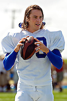 Actor Taylor Kitsch (CQ), who plays Tim Riggins on the Friday Night Lights television show, participates in a football practice scene during a filming session at Herrmann Field in Pflugerville, TX on Sunday, August 28, 2006.