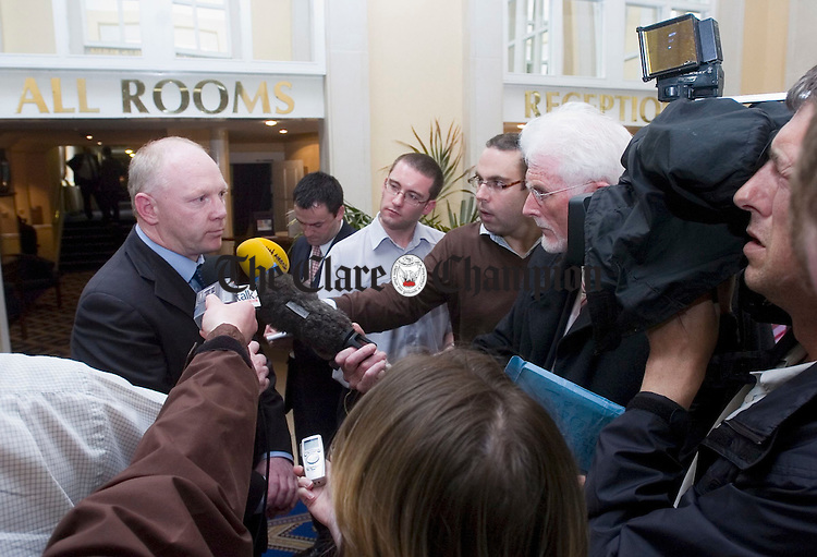 Dan Brassil, chairman of the Atlantic Connectivity Alliance speaking to the media following his group's meeting with Dermot Mannion. Photograph by John Kelly.