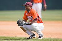 First baseman Austin Wates #21 of the Virginia Tech Hokies at English Field March 27, 2010, in Blacksburg, Virginia.  Photo by Brian Westerholt / Four Seam Images