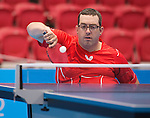 Toronto, ON - Aug 8 2015 -  Steven Dunn competes in Group C MS3 table tennis in the ATOS Markham Parapan Centre during the Toronto 2015 Parapan American Games  (Photo: Matthew Murnaghan/Canadian Paralympic Committee)