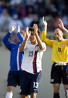 Jonathan Bornstein (middle) and Kasey Keller (18) applaud the crowd. The USA defeated China, 4-1, in an international friendly at Spartan Stadium, San Jose, CA on June 2, 2007.